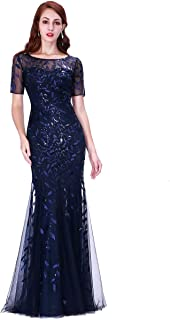 Alisapan Womens Sequins Mermaid Formal Evening Gowns Elegant Tulle Prom Dresses 7707