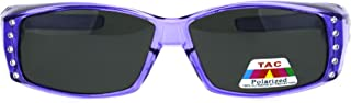 Womens Rhinestone Rectangular Polarized Fit Over Glasses Sunglasses