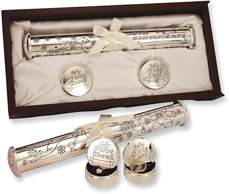 Jewelry Adviser Gifts Silver Plated Birth Certificate Holder And Memory Box Set