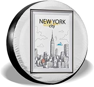 Spare Tire Cover, New York Printing Wheel Protectors PVC Waterproof Dustproof for Jeep Trailer SUV RV and Many Vehicles(14,15,16,17 Inch)