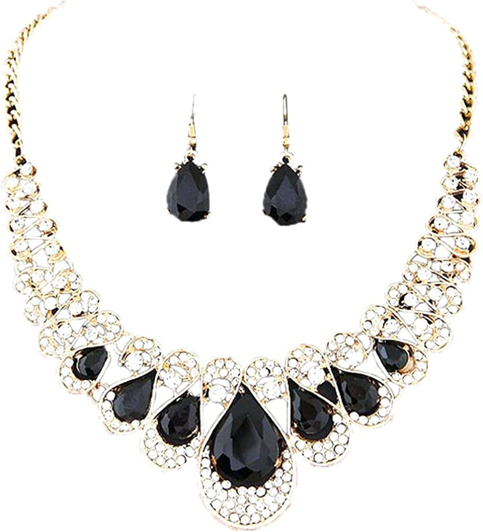 Deals,Noopvan Necklace+Earrings Jewelry Set Womens Mixed Style Bohemia Color Bib Chain Necklace Earrings Jewelry Gift Crystal Jewelry