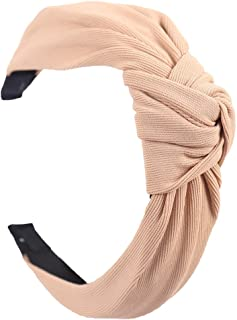 Hair band Solid Soft Knotted Flamingo Headband Hairband For Women Lady Bow Hair Hoop Daily Clothing Decoration MJZCUICAN (Color : Tan, Size : Free)