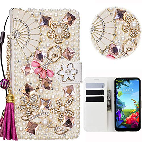 Bling Case Compatible LG K40S 2019 Custodia 3D Handmade Luxury Women Case Wallet Leather Cover Brillantini Glitters Flip Caso in Pelle PU Card Slots Fold Stand Leather Cover LG K40S 2019 - 2