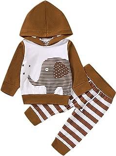 Oklady Infant Baby Boys Clothes Long Sleeve Elephant Hoodie Sweatshirt with Stripe Pants Outfits Set