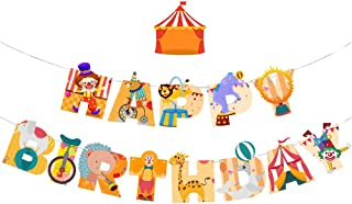 Morndew 2 PCS Circus Happy Birthday Banner for Theme Party Bunting Decoration Baby Shower Party Birthday Party Supplies (...