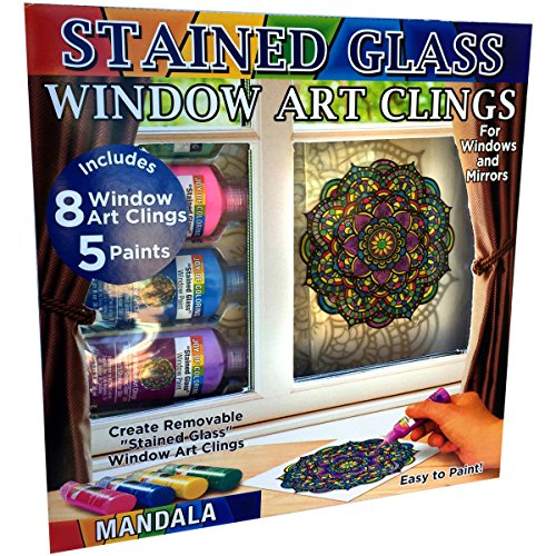 Joy of Coloring Zorbitz, Stained Glass Window Art Cling Kit DIY, 8 Clings & 5 Colors Paint Craft Kit