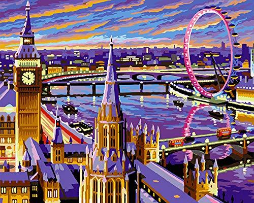 WLJX Dipingere con i Numeri Adulti,per dipingere con i Numeri con pennelli e pigmento Acrilico,Amore a Londra,Mamma Figlia Natale Compleanno Decorazione della casa 40x50cm Senza Cornice