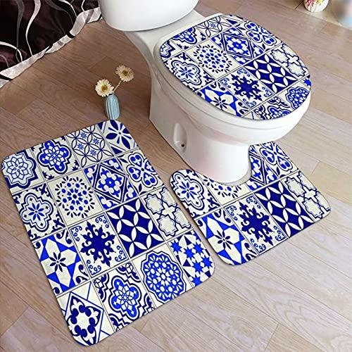 3 Piezas Juego de Alfombrillas de Baño,Azulejos Diseño de Mosaico Floral mediterráneo,Ducha Baño Alfombras Almohadillas de Contorno Alfombra de Cubierta de Inodoro