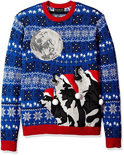 Blizzard Bay Men's 3 Wolf Moon Crew Neck Ugly Xmas, Royal Combo, S