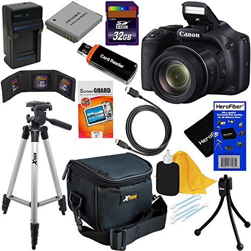 Canon Powershot SX530 HS 16.0 MP Digital Camera with 50x Zoom, Wi-Fi & 1080p Full HD Video + NB-6L Battery & AC/DC Charger + 10pc Bundle 32GB Deluxe Accessory Kit w/HeroFiber Gentle Cleaning Cloth