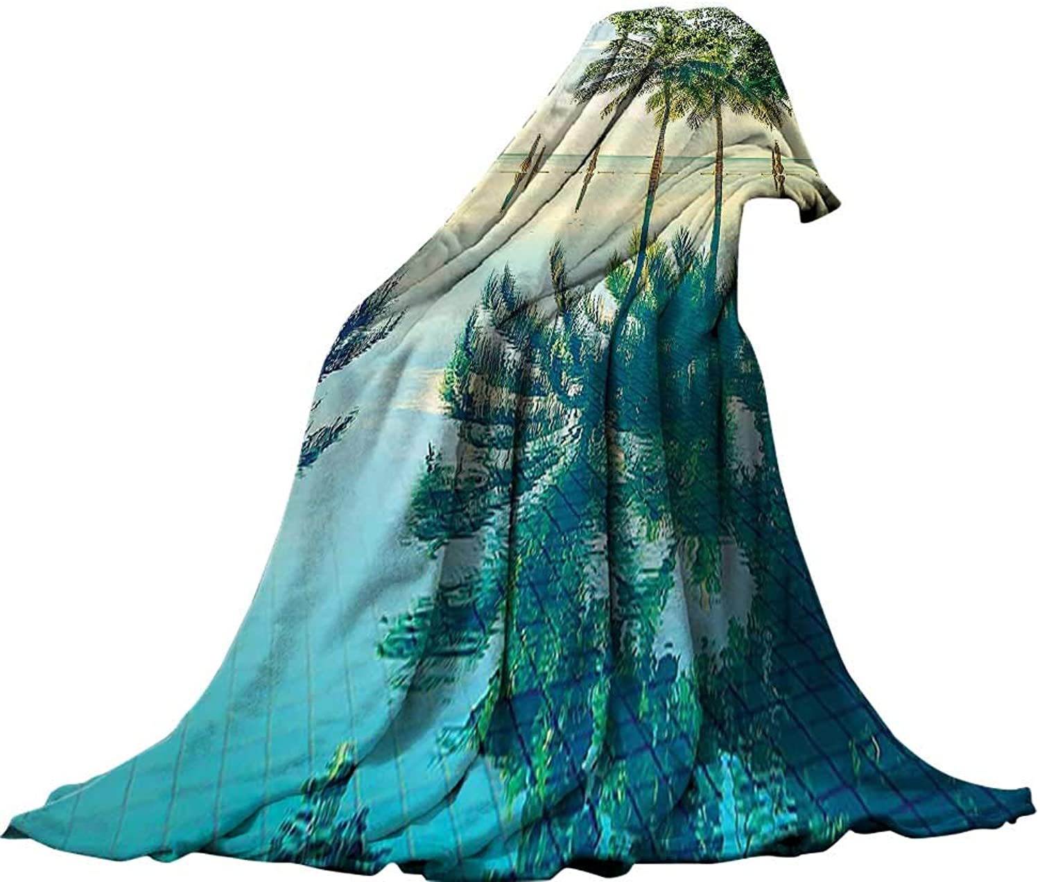 QINYAN-Home Decorative Throw Blanket Painted (62 x60 ) Summer Quilt Comforter House Decor Pool with Tree Silhouettes On The Surface No Filter Region Hot Spot Climate On Earth Decor Green bluee.