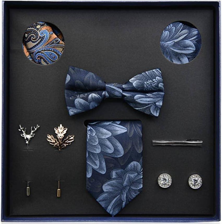 ZZABC NSLDXZPJ Gift Box Packing Men's Vintage Floral Formal Cravat Ascot Tie Self British Style Gentleman Silk Tie Set (Color : A)
