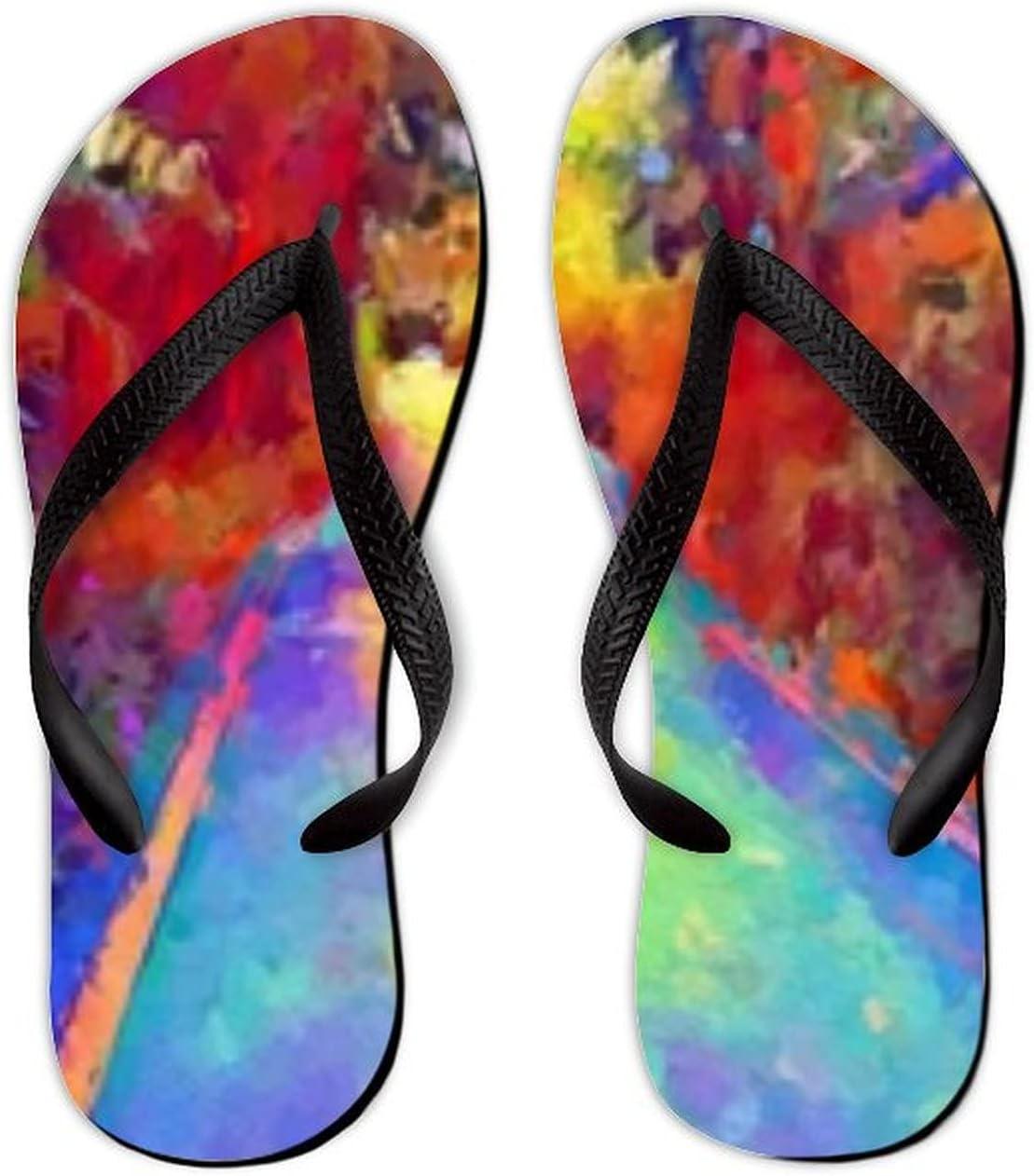 Summer Flip Flops for Men Women Art Color Road Nature Garden Soft Lightweight Non Slip Sandals for Shower Beach Pool Bathroom Flat 12.5