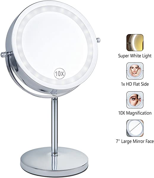 Benbilry Lighted Makeup Mirror LED Double Sided 1x 10x Magnification Cosmetic Mirror 7 Inch Battery Powered 360 Degree Rotation Vanity Mirror With On Off Push Button 10x Button Switch Mirror