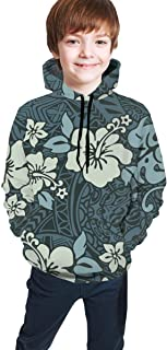 Cyloten Kid's Sweatshirt Vintage Hibiscus Flowers Hoodie Teen's Thicken Sportswear Fleece Hood for Fall-Winter