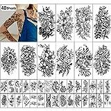Flores Tatuaje Temporal para Niñas o Mujeres 10 Hojas Extra Grandes y 30 Hojas Impermeables Pequeños Tatuajes Falsos para Decoración de fiestas kits de Pegatinas