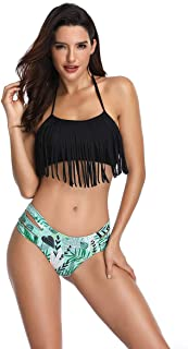 Rolaris Swimsuit for Women Two Pieces Bathing Suits Top Ruffled Racerback with High Waisted Bottom Tankini Set