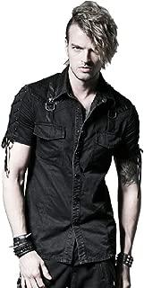 Punk Men Denim Shirts Black Short Sleeves Casual Shirt Double Pockets Cotton Shirts