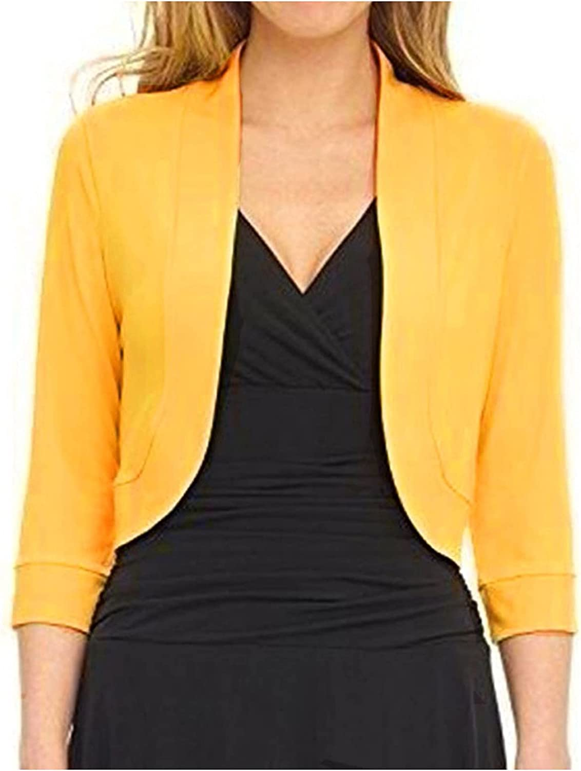 VonVonCo Fashion Business Casual Tops for Women Short Half Sleeve Pure Mini Office Work Cardigan Casual Plus Coat