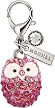 MC52 New Arrival Cute Hot Pink Crystal Wise OWL Teacher Lobster Clasp Charms Pendants with Pouch Bag (1 Piece)