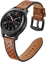 22mm Quick Release Watch Band, Fintie Genuine Leather Replacement Wrist Strap Bands with Metal Clasp Compatible with Samsung Galaxy Watch 46mm / Gear S3 Frontier Classic Smartwatch - Brown