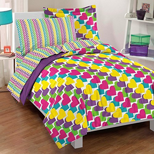 Dream Factory Casual Rainbow Hearts Comforter Set, Twin, Multicolor by Dream Factory