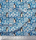 Soimoi Blau Baumwolle Batist Stoff Blumen & Pinguin Ozean