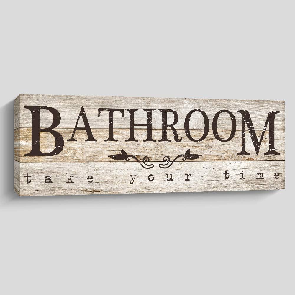 Bathroom Sign Wall Decor, Rustic Farmhouse Wall Art Room Decor, 6 X 17 X 1 Inch, Yellow