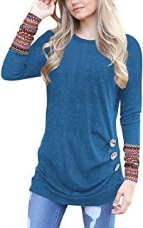 UONQD Women Long Sleeve Loose Button Trim Leopard Blouse Round Neck Tunic T-Shirt