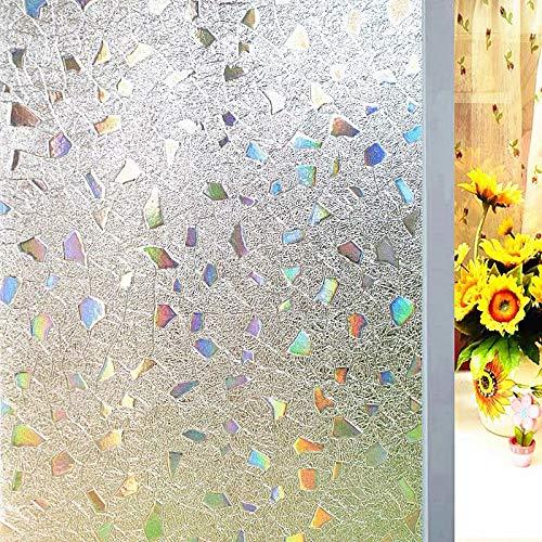 Película de Cubierta de Ventana de Piedras Preciosas de Colores de Diamante Etiqueta de Vidrio 3D estática no Adhesiva película de Vidrio de Puerta y Ventana para el hogar C 50x200cm