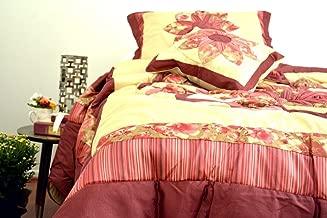 Dada Bedding Bm465l-1 5 Piece Floral Patchwork Red Sunset Rubies Quilt Comforter Set, California King