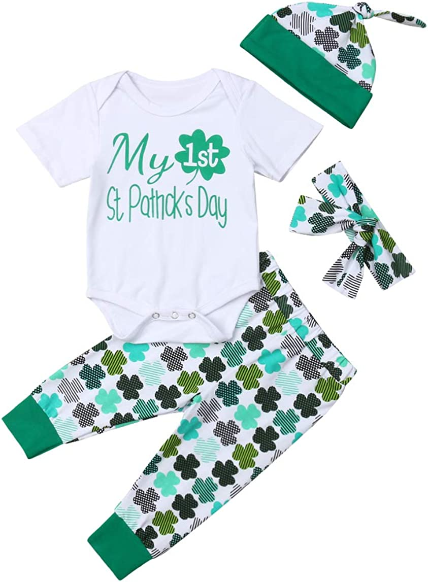 Recommended 4Pcs Baby Boy Girl My 1st St. Romper Day P Patrick's Clover Tops All stores are sold