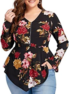 Women Blouse, Women's Zipper V-Neck Floral Printed Long Sleeve Shirt Plus Size Chiffon Tops