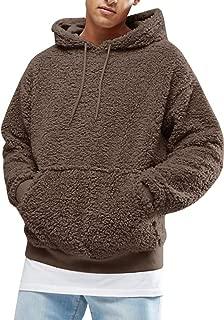 Bbalizko Mens Casual Sherpa Fleece Hoodies Front Pocket Drawstring Winter Sweatshirts Outerwears