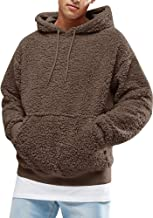 Mens Fuzzy Hoodie Sherpa Sweatshirts Pullover Long Sleeve Kangaroo Pockets Fall Outwear Winter Hooded