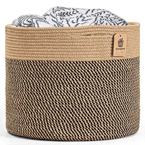 Goodpick Groß Wäschekorb Aufbewahrungskorb Baumwolle Seil Korb geflochten für Decken Spielzeug im Kinderzimmer, D40 x H35 cm