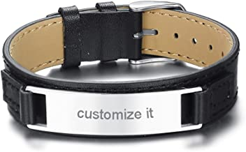 Mealguet Jewelry Personalized Engraving Men's Leather Wristband Stainless Steel Plate Custom ID Name Bracelets for Him,Adjustable