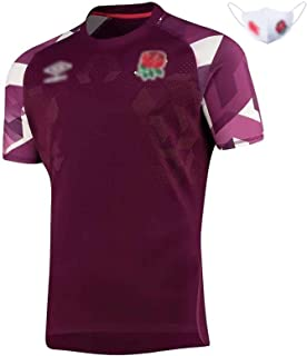 男子ラグビーウェア2021イングランド ラグビーのラグビーの試合のホーム&アウェイのトレーニングのスウェットポロシャツ,耐摩耗性と通気ラグビー マスク性