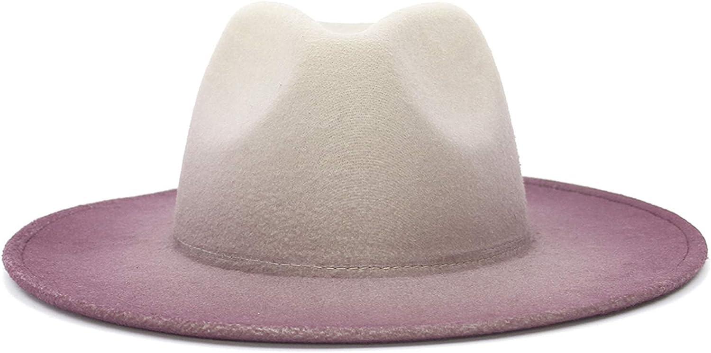 GEMVIE Women Vintage Gradient Color Fedora Hat Wide Brim Flat Panama Fedora Hat Gangster Jazz Cap