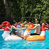 SCS Direct Chicken Fight Inflatable Pool Float Game Set - Includes 2 Giant Battle Ride-Ons - Flip Your Friends to Win! - for Kids and Adults