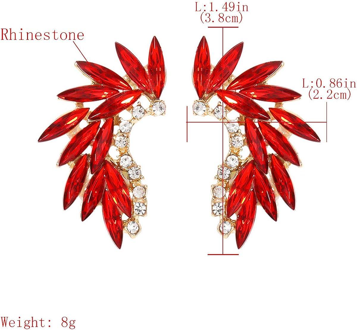 HUATRK Rhinestone Camber Gold/Red/Clear Wings Minimalism Earrings for Women Girls