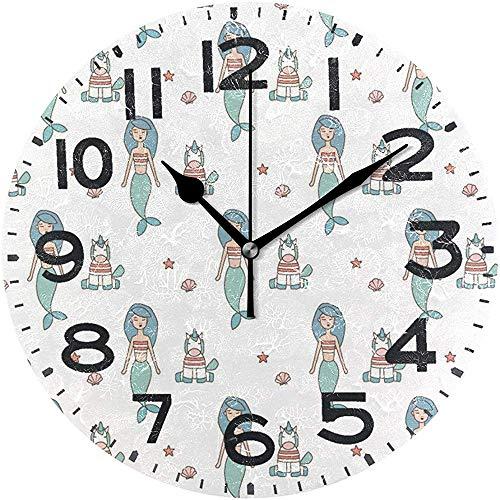 Cy-ril Dessin animé Mignon sirènes habillées et Petites Licornes étoile de mer et Coquillages Motif Horloge Murale Ronde fonctionnant sur Batterie Calme Horloge de Bureau