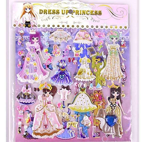 BLOUR 8 Hojas de Pegatinas 3D para Vestir muñecas para niñas, Pegatina de Burbujas de Dibujos Animados, Juguetes para niños de PVC, Pegatinas Encantadoras para Regalos de niños