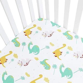 "Baby Crib Sheets, Fitted Crib Sheet Dinosaur, Crib Sheets Green Fits Standard Size Crib (28"" X 52""), Breathable Silky Soft..."