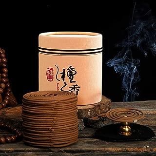 Hansense 48pcs/Box Natural Sandalwood Coils Incense Coils Incense with a Mini Holder Burner - Aroma 4 Hours