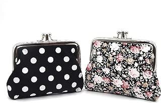Coin Purse Wallet 2pcs Cute Exquisite Buckle Little Change Pouch Cotton Mini Cash Key Bag 2 Pockets (Black, Small)