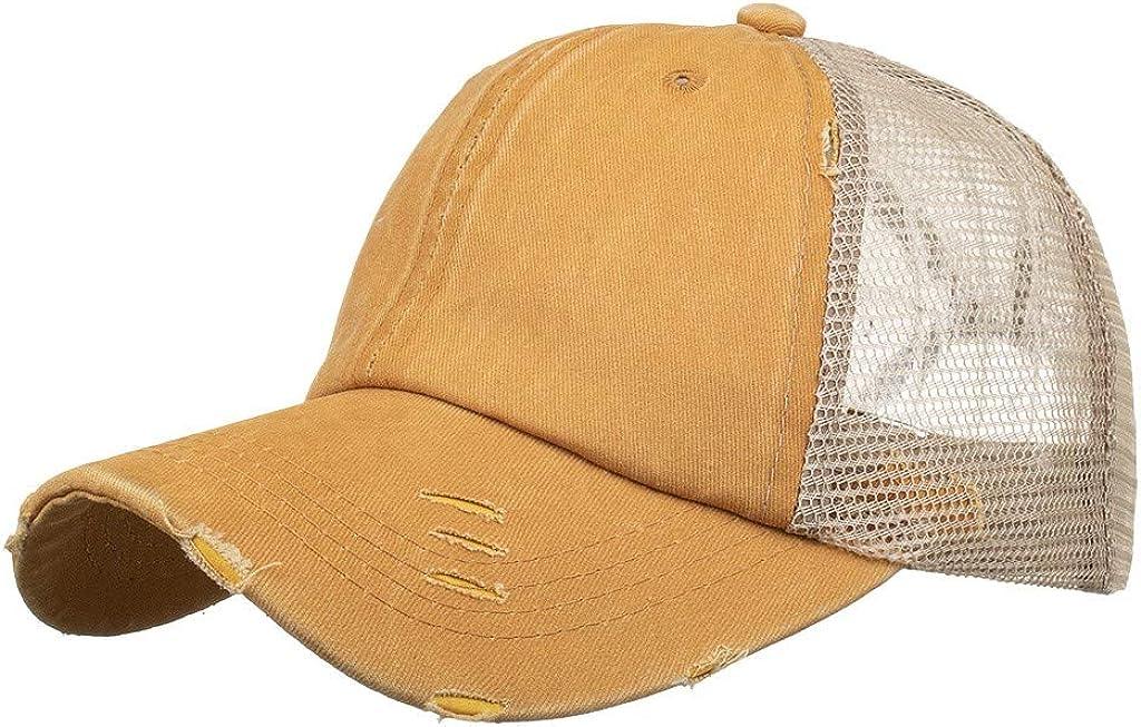 Womens Distressed Criss Cross Ponytail Cap Adjustable Baseball Cap for High Bun Unisex Vintage Washed Trucker Hats Sun Hat