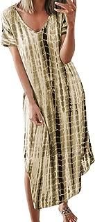 Summer Dresses for Women,Fashion Women Casual Plus Size V-Neck Tie Dyeing Print Split Short Sleeve Dress