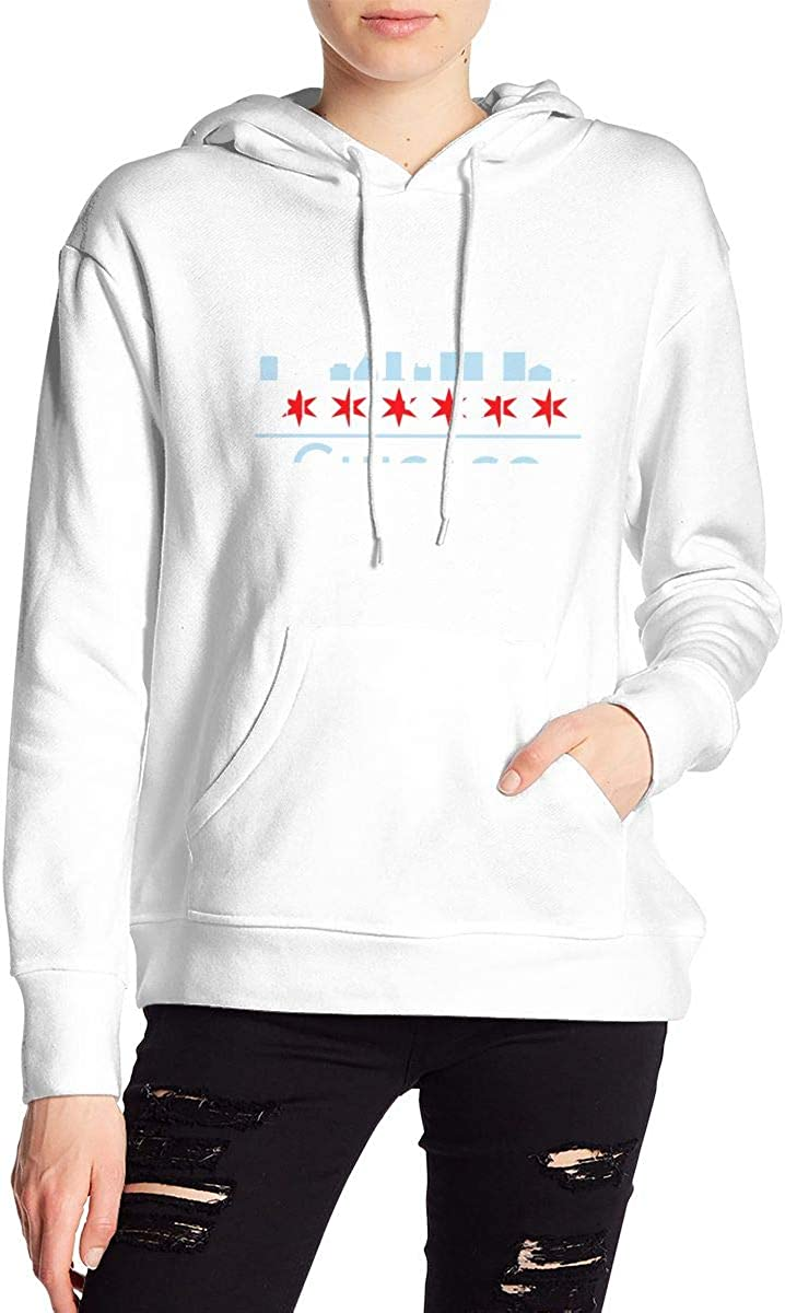 Women's Pullover Hoodie Chicago 大人気! City 通常便なら送料無料 Flag Skyline Soft Ultra USA