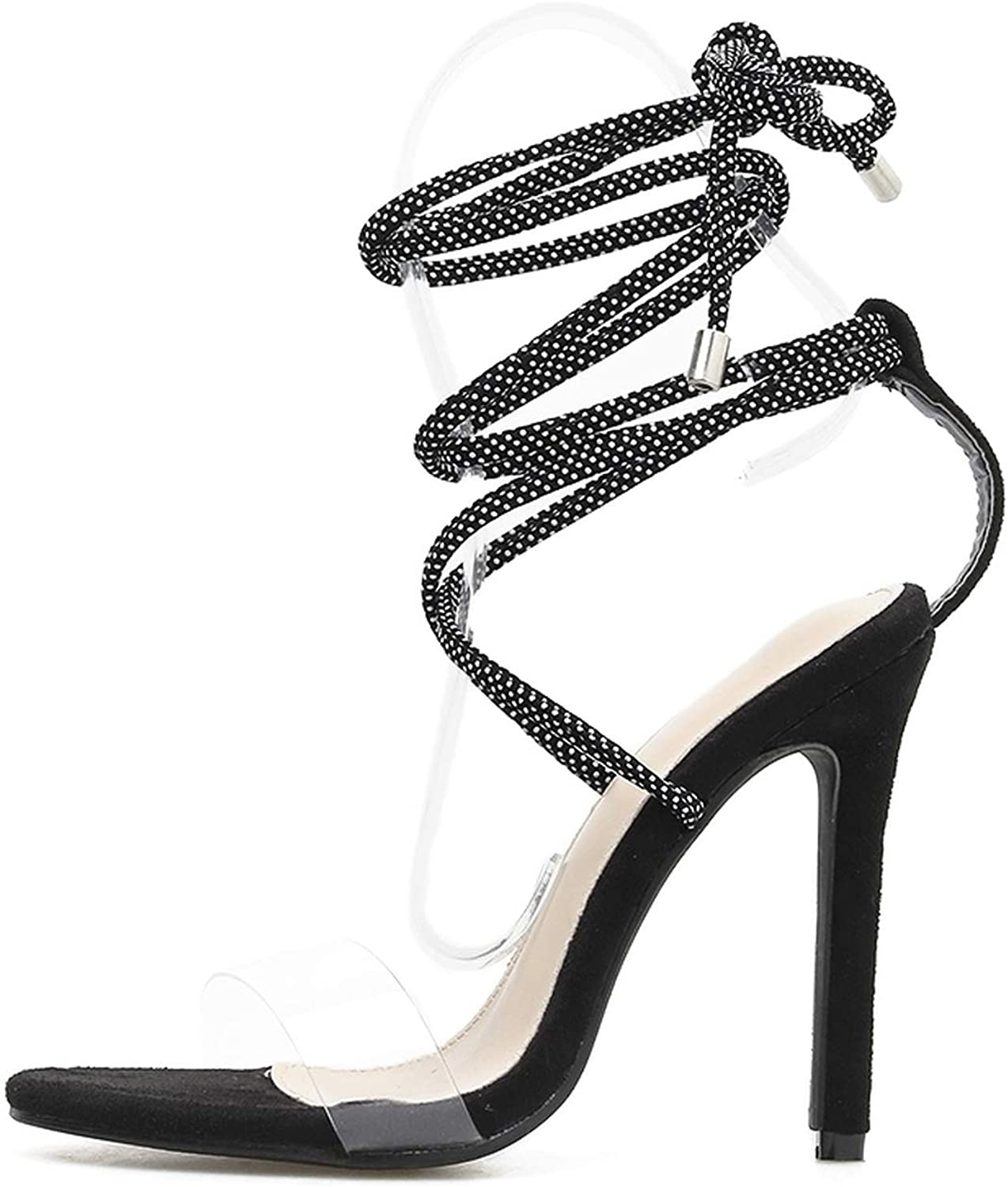 Gladiator Sandals Summer PVC Open Toe High Heels Cross Strap Crystal Ankle Strap shoes